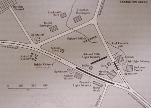 Lexington Green Map, courtesy of Massachusetts Historical Society