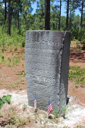 Monument on the Camden Battlefield marking the general area where de Kalb was mortally wounded