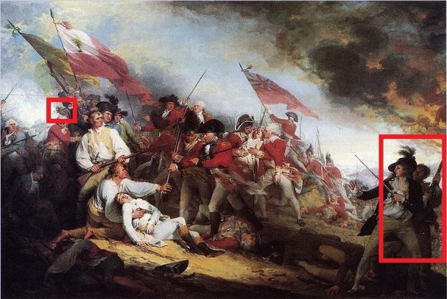 "In John Trumbull's famous The Death of General Warren at Bunker Hill (1786), you can see two African Americans.  The one on the right stands behind his master holding a musket.  This may represent Peter Salem who was purported to have killed Major Pitcairn during the battle, but Trumbull referred to him merely as ""a faithful negro.""  This image was widely circulated and George Washington had a couple copies in his home Mount Vernon."
