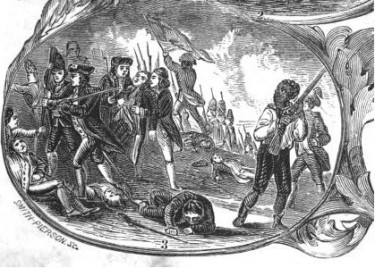 This image is from William C. Nell's book The Colored Patriots of the American Revolution, 1855.  Notice how the white master was removed and the focus is not on General Warren, but the African American holding his musket.