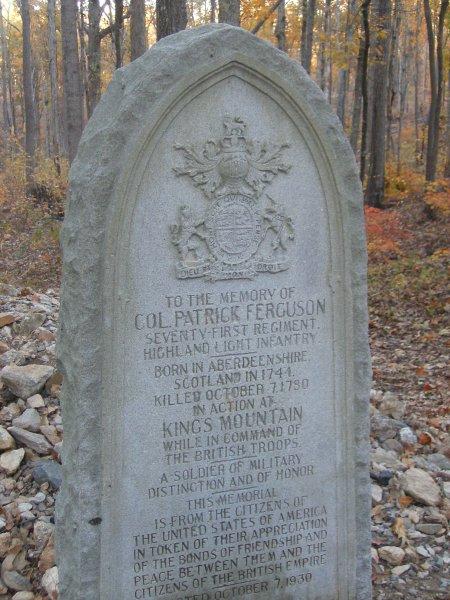 Colonel Patrick Ferguson death marker, Kings Mountain National Military Park