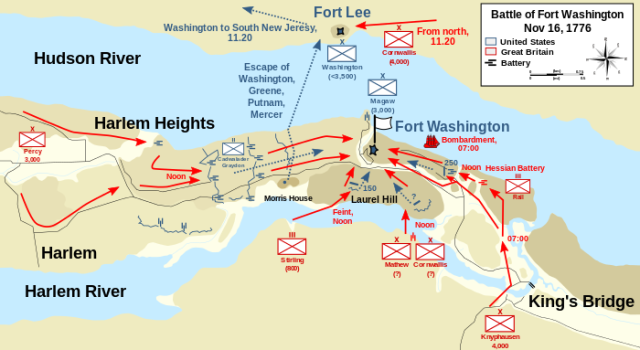 Map of Battle of Fort Washington (courtesy of Wiki)