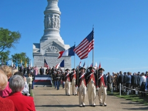Yorktown Day Patriotic Exercises in front of the Victory Monument in Yorktown, Virginia, Colonial National Historic Park Photo.