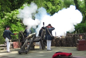 Artillery firing at the Yorktown Victory Center, a museum of the American Revolution administered by the Jamestown-Yorktown Foundation. Jamestown-Yorktown Foundation photo.
