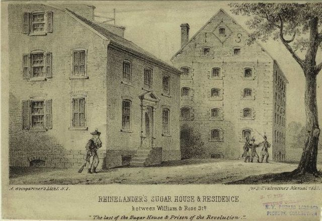 A sketch of one of the prison complexes used in New York City by the British to house American soldiers.