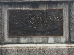 A depiction of the battle on the obelisk.