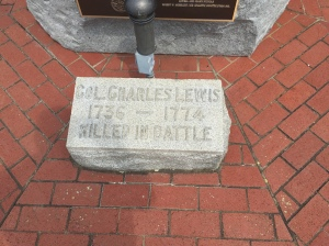 A marker commemorating the death of Col. Charles Lewis at Point Pleasant.