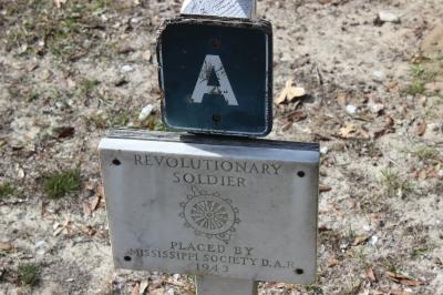 Marker beside Samuel Davis's grave stone.