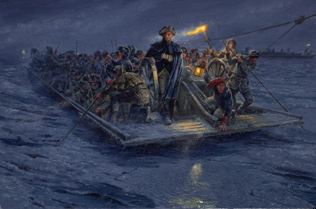 "Mort Kunstler painting of the ""Crossing of the Delaware"""