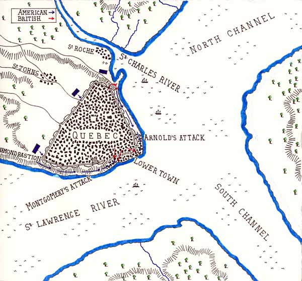 Map of Battle of Quebec, 1775 (courtesy of British Battles)