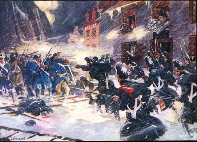 One artist's depiction of the Battle of Quebec, 1775. Both forces are wearing blue overcoats. (courtesy of British Battles)