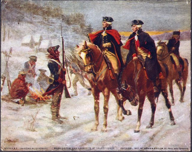 Artist depiction of the encampment at Valley Forge. George Washington and the Marquis de Lafayette are the two horsemen