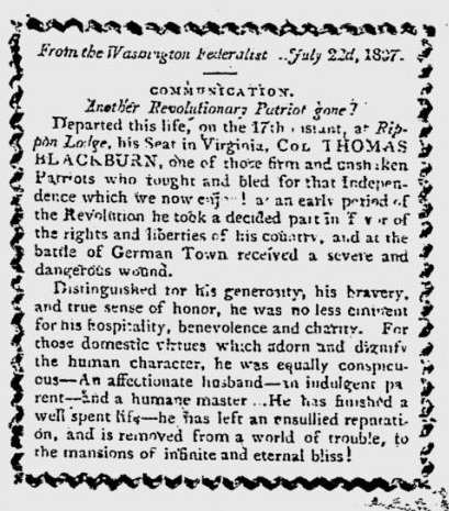 Thomas Blackburb Obituary Virginia Gazette Aug 29th 1807