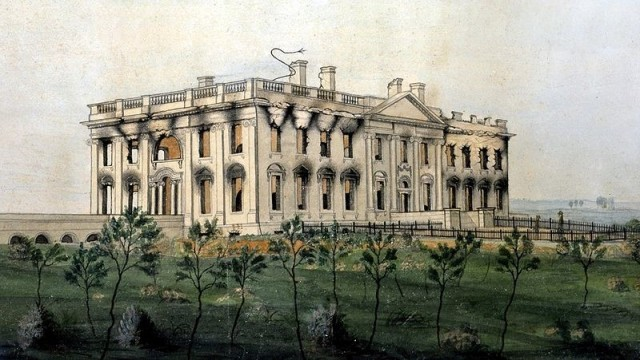 The burned out shell of the White House following the British occupation of Washington. (The President's House, by George Munger, 1814-1815)