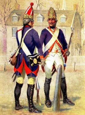 Hessian soldiers as they would have appeared in 1776.