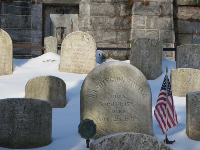 The grave of Washington Irving, most famous for his stories about Sleepy Hollow and Rip Van Winkle, he was actually very much fascinated with the Revolutionary War and later wrote a large historic biography of George Washington. (Author's photo)