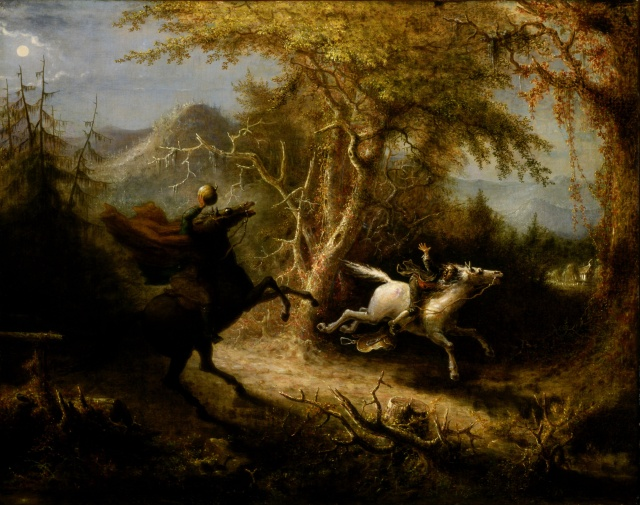 "This painting portrays the Headless Horseman, a decapitated Hessian trooper, chasing Ichabod Crane, a scene from Washington Irving's short story, ""The Legend of Sleepy Hollow"""