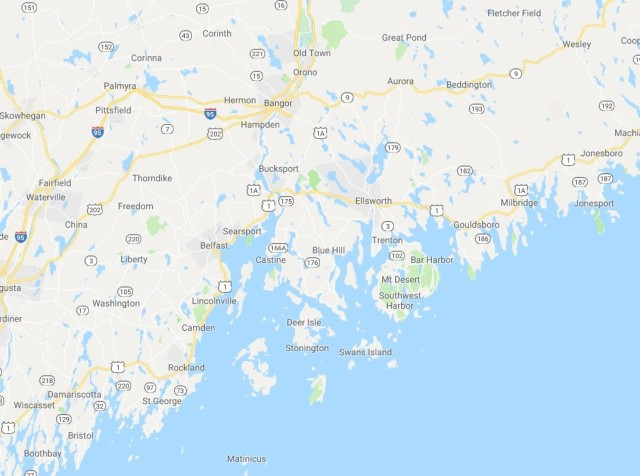 Castine is located near the mouth of the Penobscot River, more or less in the middle of the Maine coast (Google Maps)