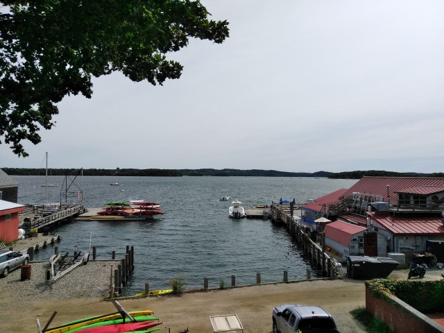 Castine harbor, looking out roughly where Captain Mowatt anchored the British transports and warships (Author_s photo)