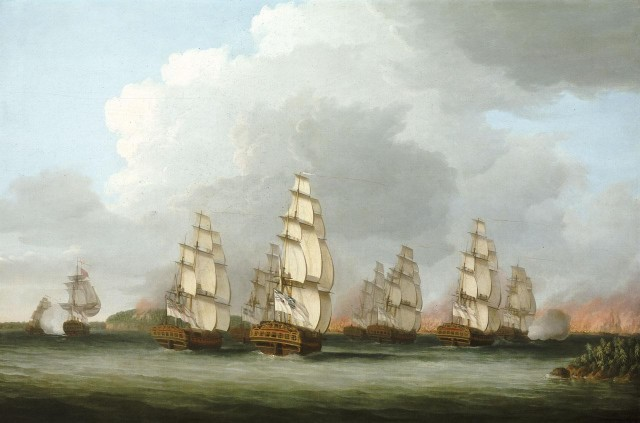 Destruction of the American Fleet at Penobscot Bay by Dominic Serres (National Maritime Museum, Greenwich)