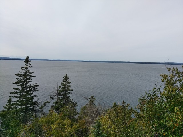 Looking out over Penobscot Bay from Blockhouse Point. The American fleet fled roughly left to right past the point in their desperate attempt to escape the British (Author_s photo)