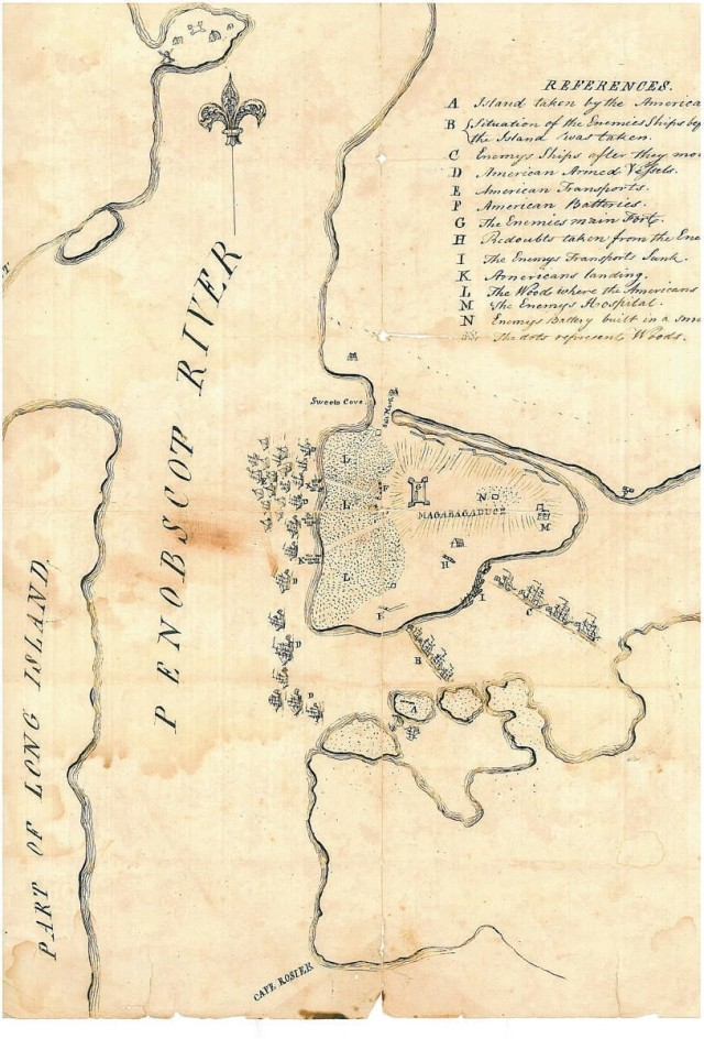 Map showing the actions at Castine during the summer of 1779. Fort George, the British outer works, Nautilus Island, and the British and American fleets are all clearly labled (Northeast