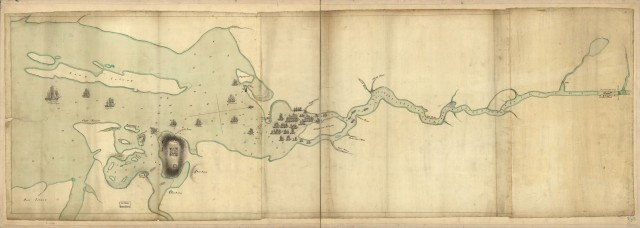 Penobscot River and Bay, with the operations of the English fleet, under Sir George Collyer. The map shows the pursuit of the American fleet up the Penobscot towards the falls and their