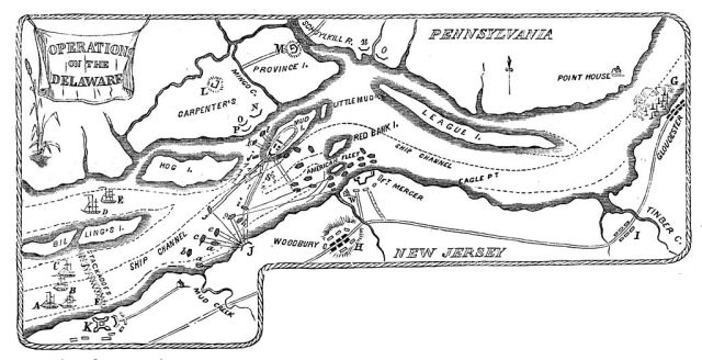 Map of 1777 Operations on the Delaware River (Wikimedia Commons)